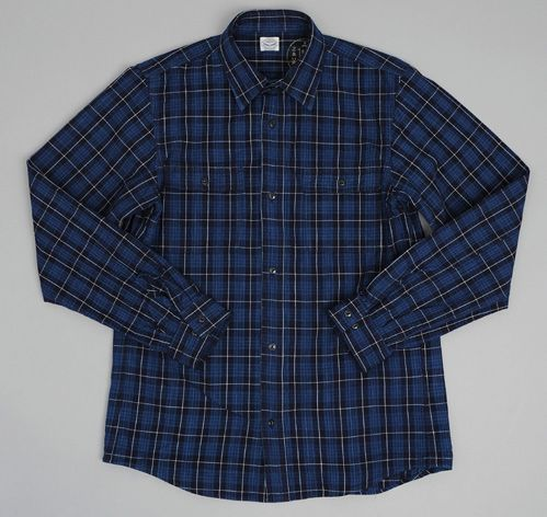 Hill-side x Journal Standard - WORK SHIRT, SKEIN-DYED INDIGO KIMONO FABRIC