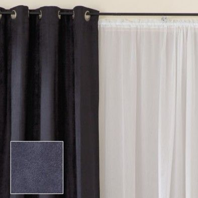 White Sheers With Dark Curtain And Rod Over Black Eyelet