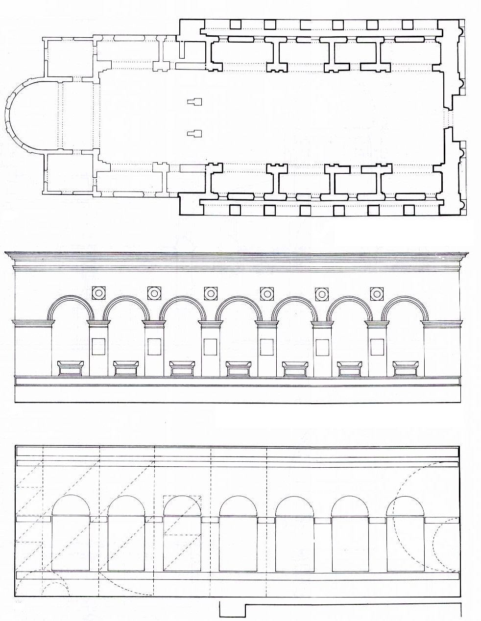 LEON BATTISTA ALBERTI Plan, Side elevation of first tier and geometrical scheme of side elevation, Tempio Malatestiano. 1468, Rimini. The construction of Tempio Malatestiano was begun by the order of Sigismondo Pandolfo Maslatesta, but remain incomplete. When Aberti took over the project, he did not remodeled it, but build a new structure around it.