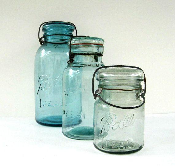 Antique Blue Mason Jars With Glass Lids 1 2 Gallon Quart And
