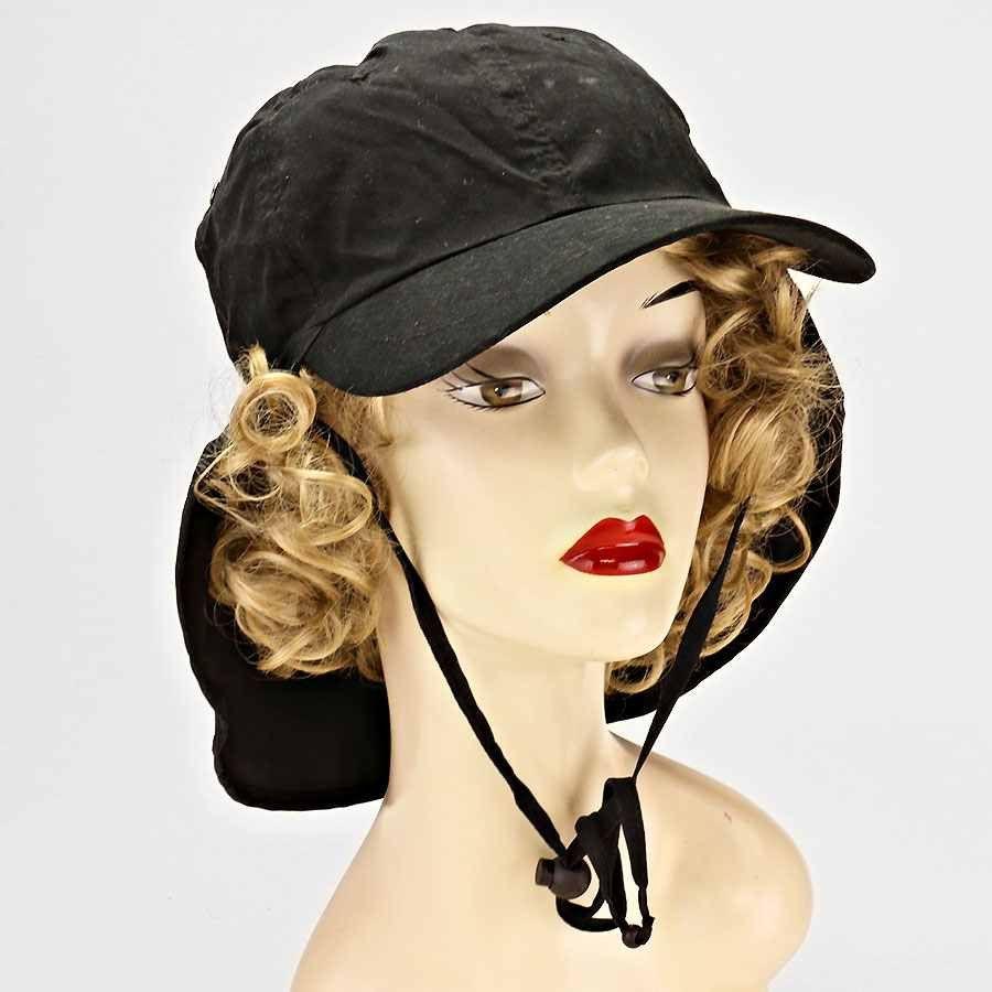 Safari Flap Drawstring Hat Black