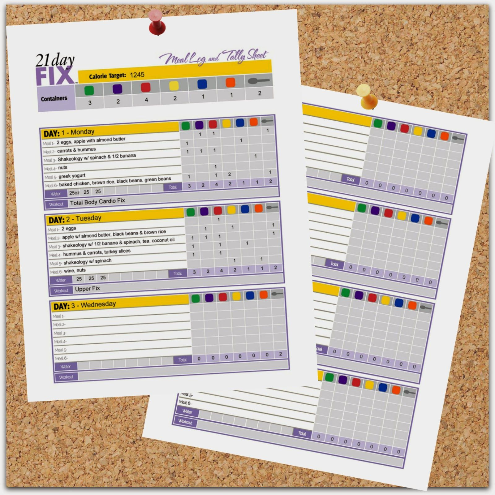21 Day Fix Meal Log and Tally Sheet--love that I can download this ...