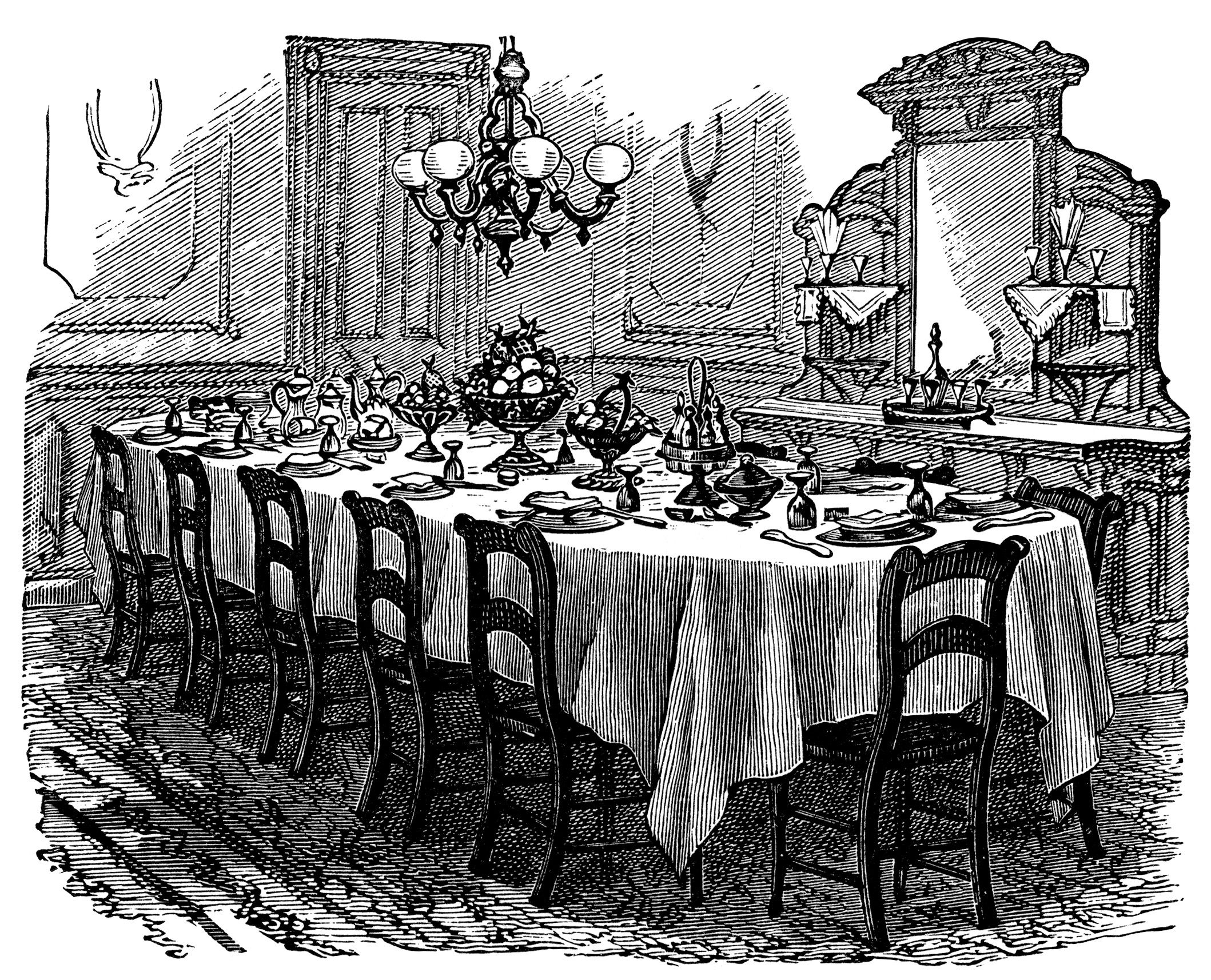 vintage kitchen clip art black and white graphics Victorian table