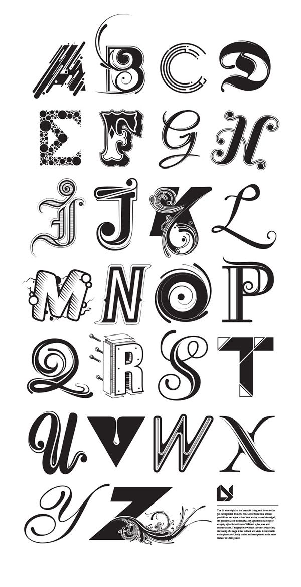 A custom 26 letter alphabet using different styles of