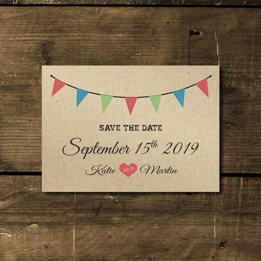 Vintage Bunting Kraft Wedding Invitation Buntings Vintage Wedding