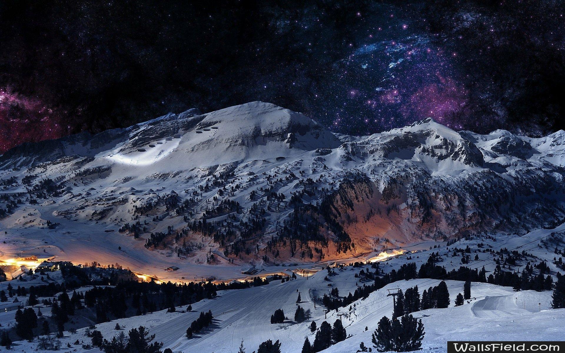 Night Sky Snow Mountains At Night Mountain Wallpaper