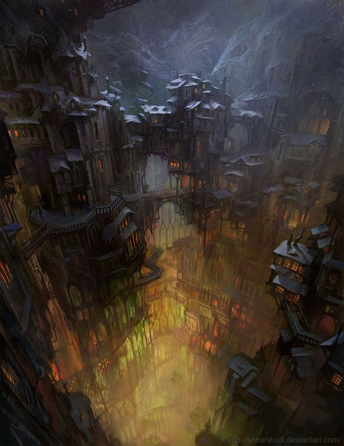 Digital Art Inspiration and Tutorials – The Round Tablet » City in Cave by SnowSkadi