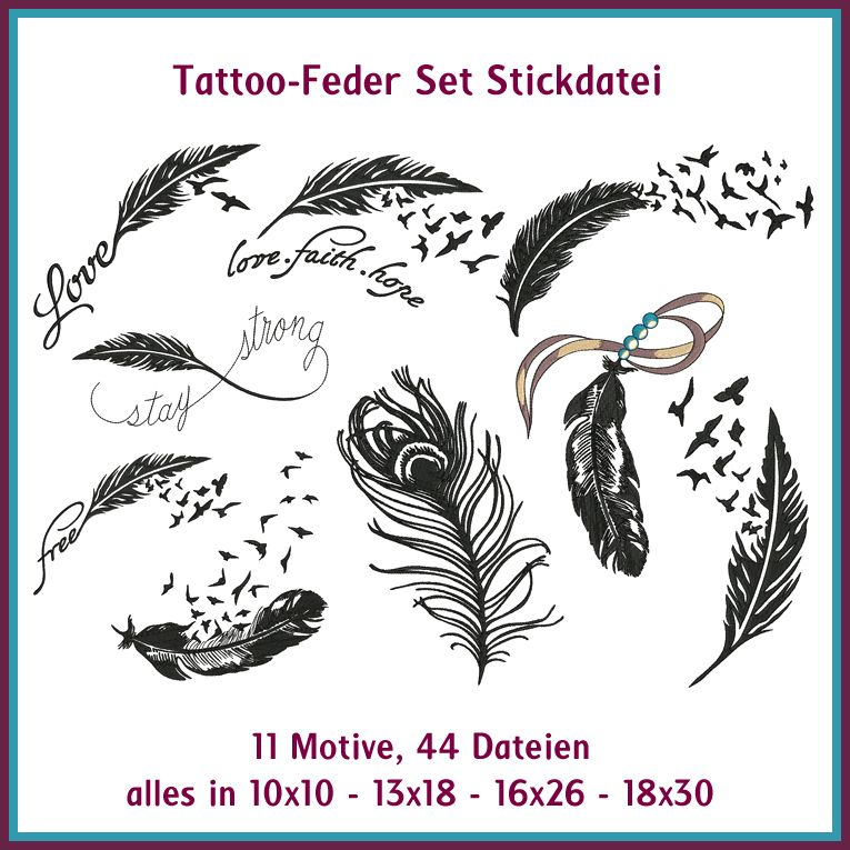 tattoo feder set stickdateien vielleicht mal wieder reduziert siehe facebook sticken. Black Bedroom Furniture Sets. Home Design Ideas