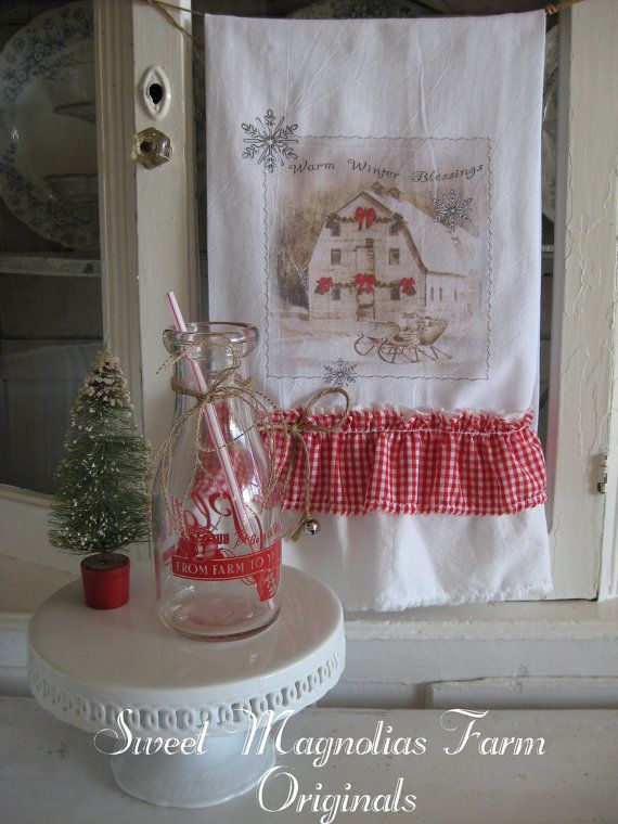 "Christmas Flour Sack Kitchen Towel .""Warm Winter Blessings"" Barn and Sleigh"