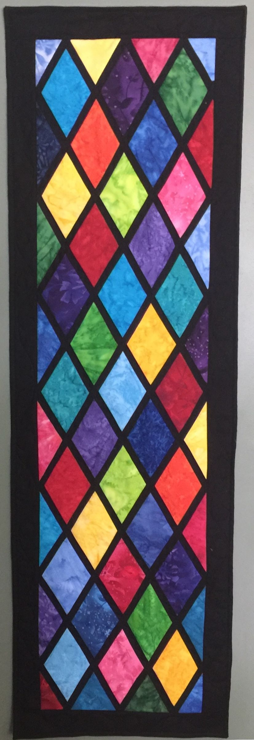 Stained Glass Quilted Wall Hanging For Door 16X48