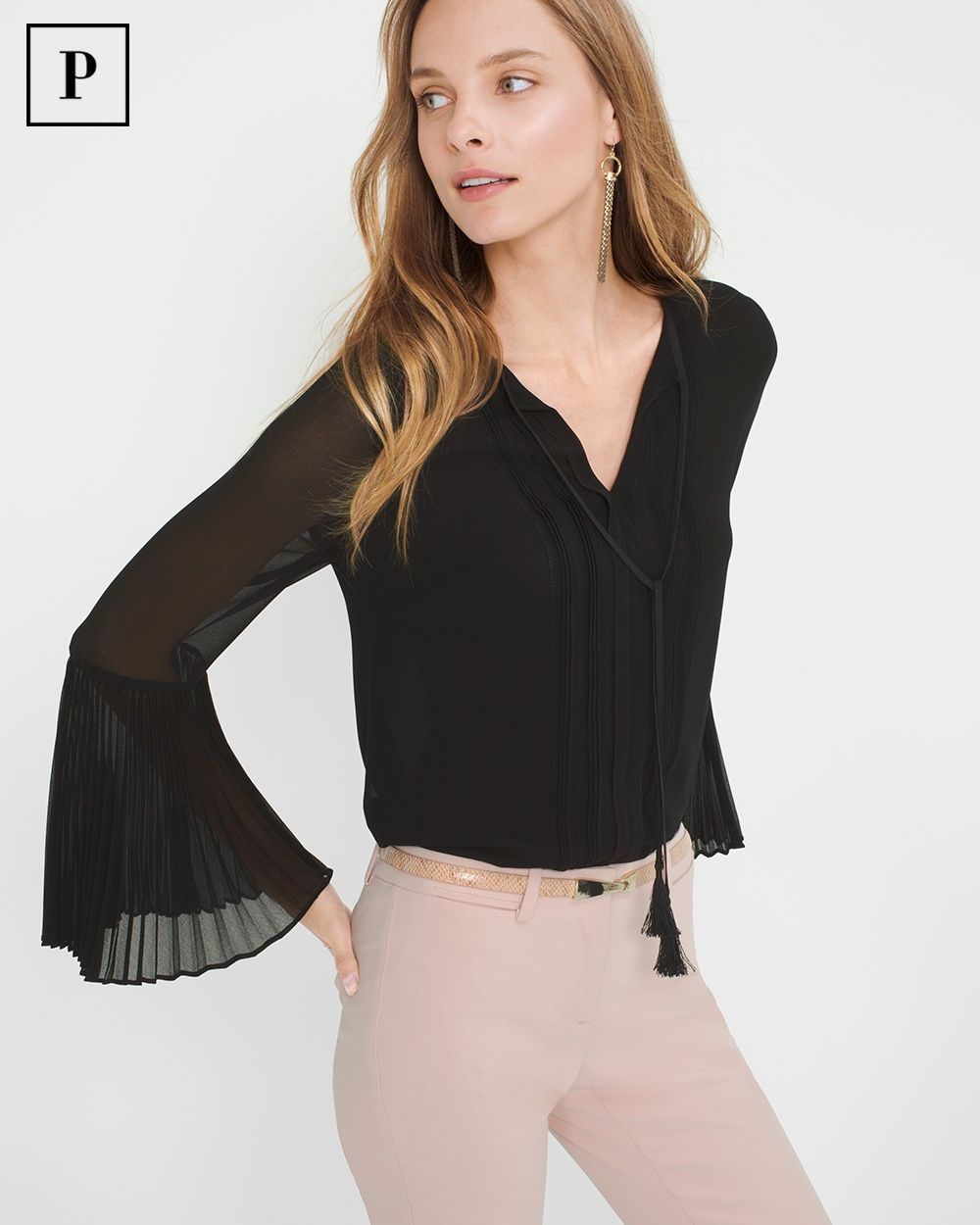 """We aren't sure what we love most about this blouse. Maybe it's the boho tassel cord ends. It might also be the voluminous cuffs with sharp accordion pleats. Whatever it is, our chiffon design looks best tucked into a black pencil skirt or our slim ankle pants. Pleated-sleeve blouse Polyester. Hand wash.  Regular: Approx. 27"""" from shoulder  Petite: Approx. 24"""" from shoulder Imported"""