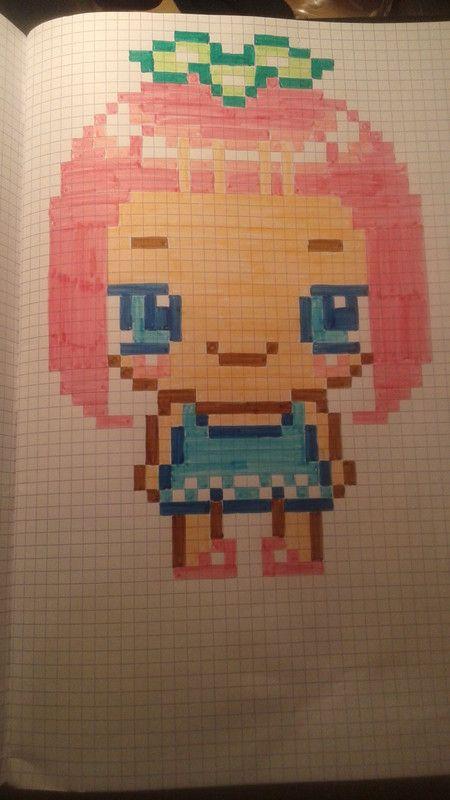 Petite Fille Aux Cheveux Rose Coloriage Pixel Dessin