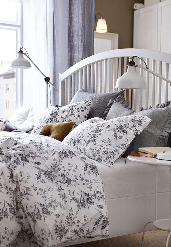 Alvine Kvist Duvet Cover And Pillowcase S White Gray Full Queen Double Queen Ikea Ikea Bed Home Bed Frame