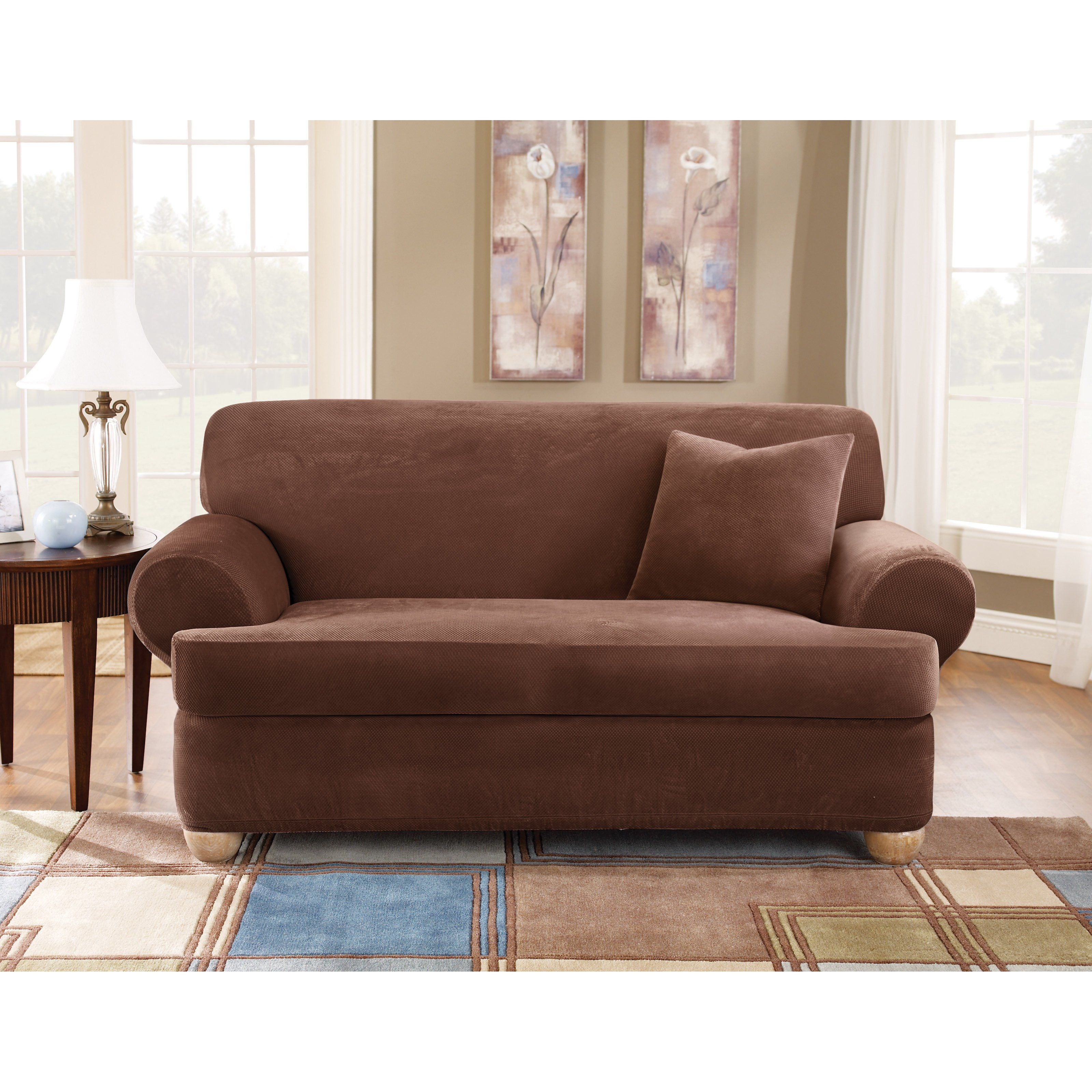 Sure Fit Stretch Pique T Cushion Three Piece Loveseat Slipcover Cushions On Sofa Sofa Covers Slipcovered Sofa 3 piece t cushion sofa slipcover