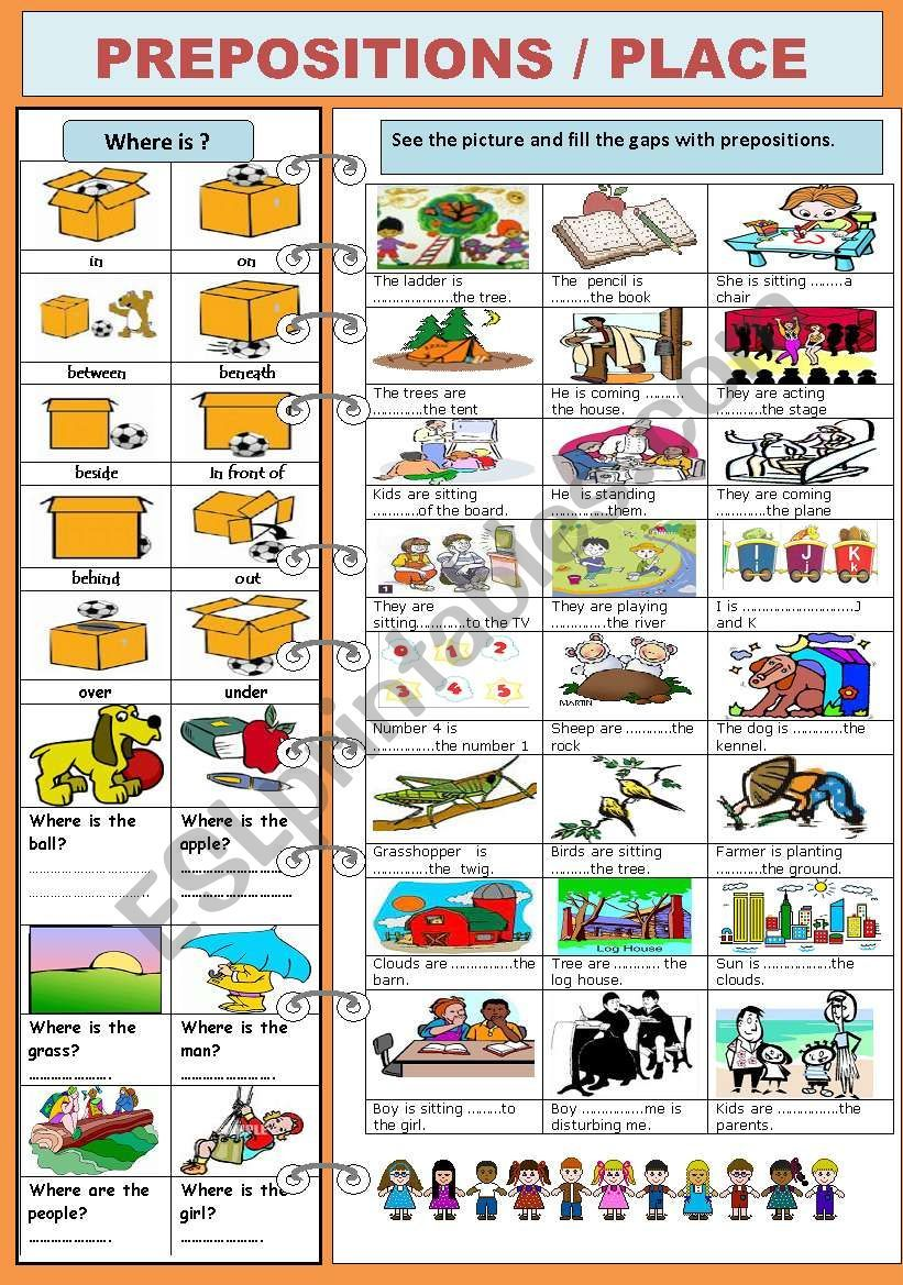 PREPOSITIONS/PLACE worksheet