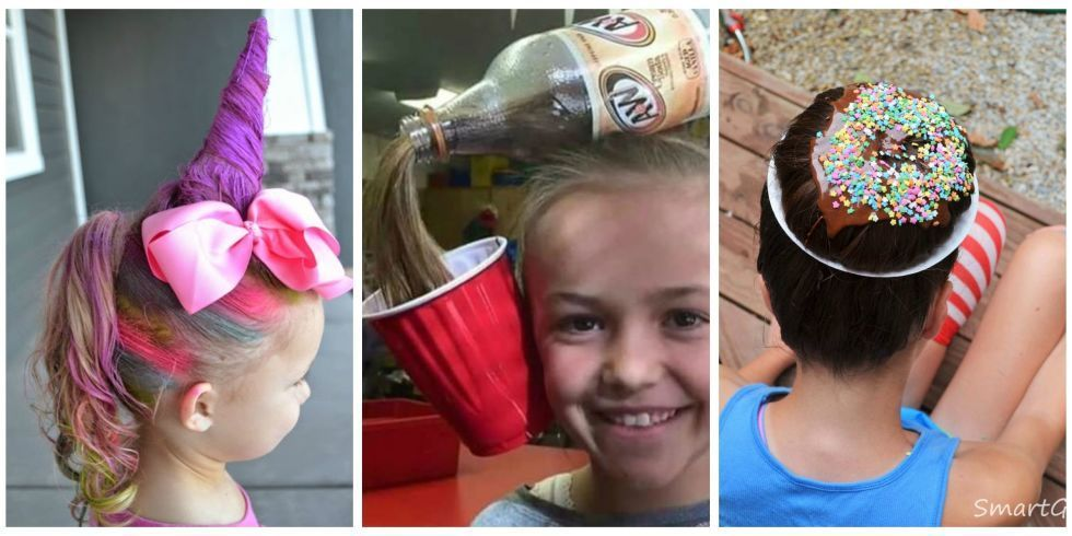 16 of The Most Eye-Popping 'Crazy Hair Day' Updos Ever #crazyhairdayatschoolforgirlseasy Let's give these creative parents a round of applause! #crazyhairdayatschoolforgirlseasy
