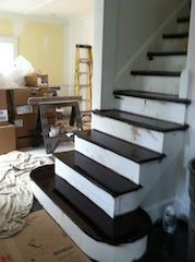 White Oak Stair Treads With A Double Bullnose Starting Step. Dark Brown  Aniline Dye By