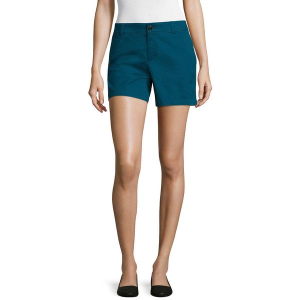 Liz Claiborne Twill Chino Shorts ($20) ❤ liked on Polyvore featuring shorts, liz claiborne shorts, liz claiborne, zipper shorts, chino shorts and twill shorts