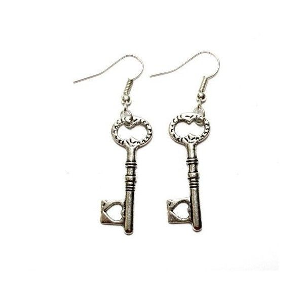 Sour Cherry Alice in Wonderland Heart Key Earrings (Silver Plated, Low... ❤ liked on Polyvore featuring jewelry, earrings, nickel jewelry, heart shaped earrings, silver plated earrings, heart earrings and silver plated jewelry