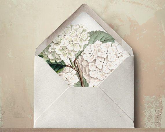 Hydrangea Envelope Liners DIY Printable Wedding Invitations and