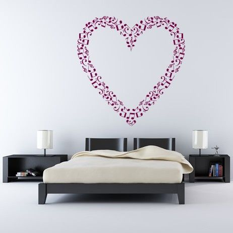 heart outline musical notes music wall stickers wall art decal transfers