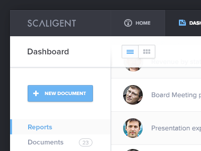 """I like the large """"New Document"""" button and how it stands out from the rest. Definitely the focal point. Admin Dashboard by Jonathan Moreira"""