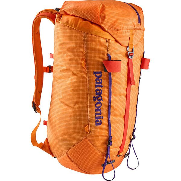 Patagonia Ascensionist 30L (S/M) - Sporty Orange - Hiking Backpacks featuring polyvore, women's fashion, bags, backpacks, orange, patagonia bags, day pack backpack, light weight backpack, drawstring backpack bag and strap backpack