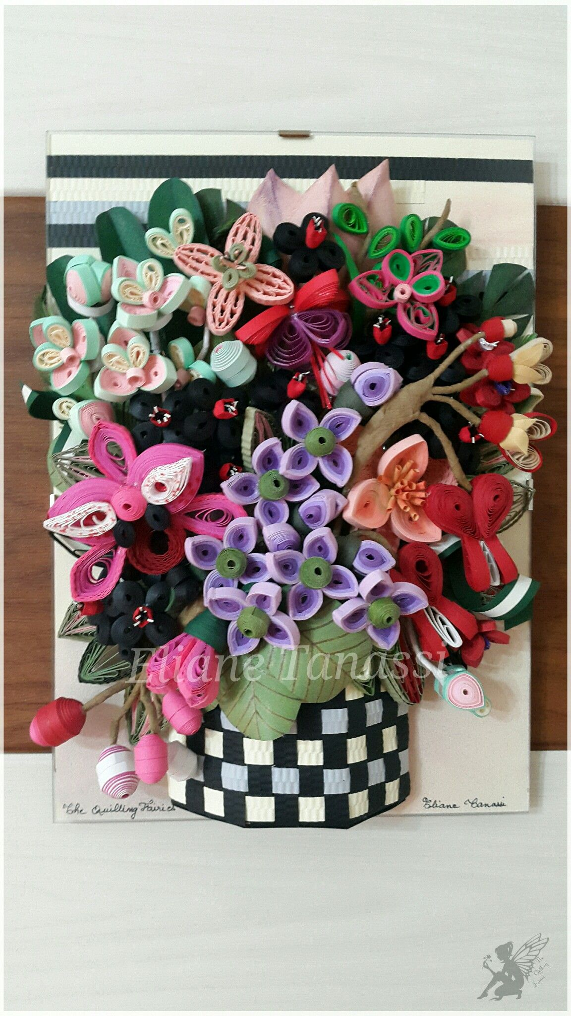 Quilled Basket with Tropical Flower Arrangement (Orchids