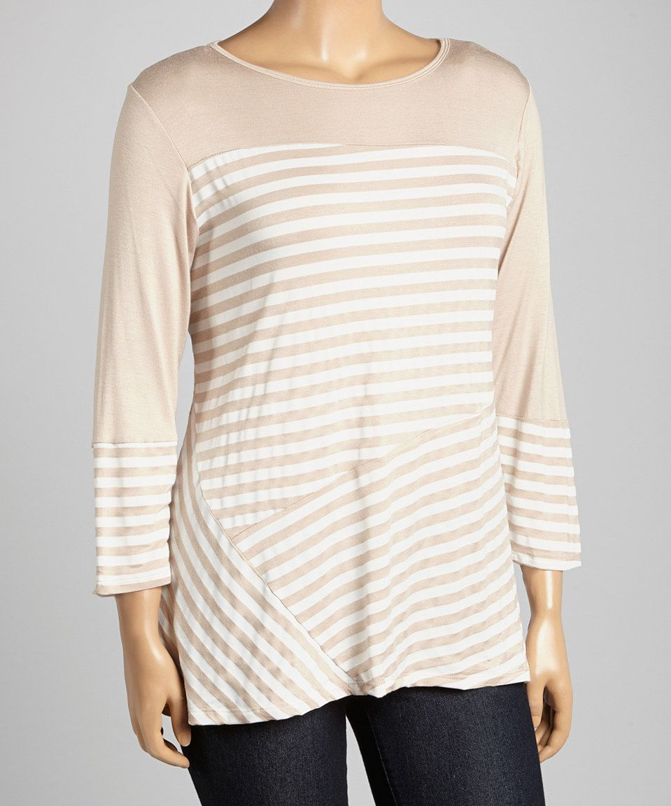 This Khaki & White Stripe Top - Plus by Allie & Rob is perfect! #zulilyfinds