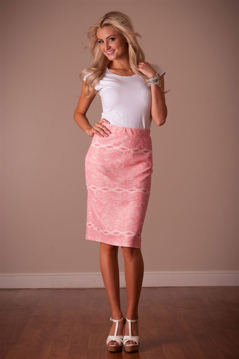 Pink & White Lace Sparkle Pencil Skirt