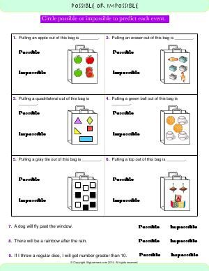 Worksheet Possible Or Impossible Circle Possible Or Impossible To Predict Each Event Math Impossible Predictions