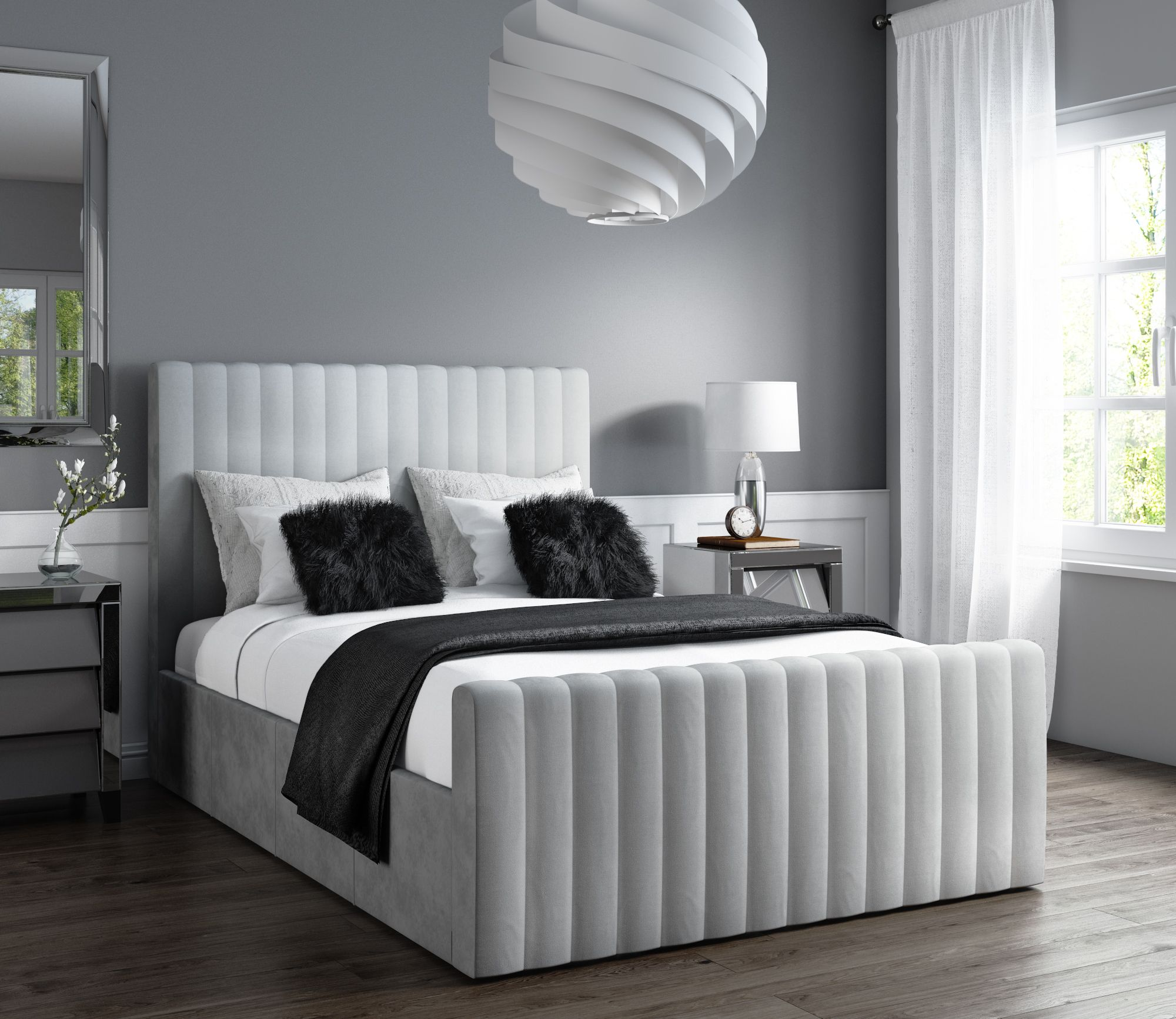 Fabulous Khloe Double Side Ottoman Bed In Silver Grey Velvet Khl002 Creativecarmelina Interior Chair Design Creativecarmelinacom