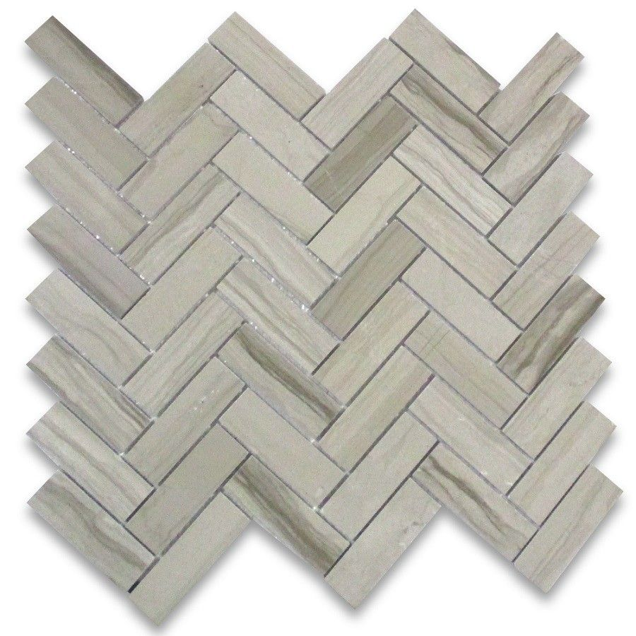 Athens Grey Wood Grain 1x3 Herringbone Mosaic Tile