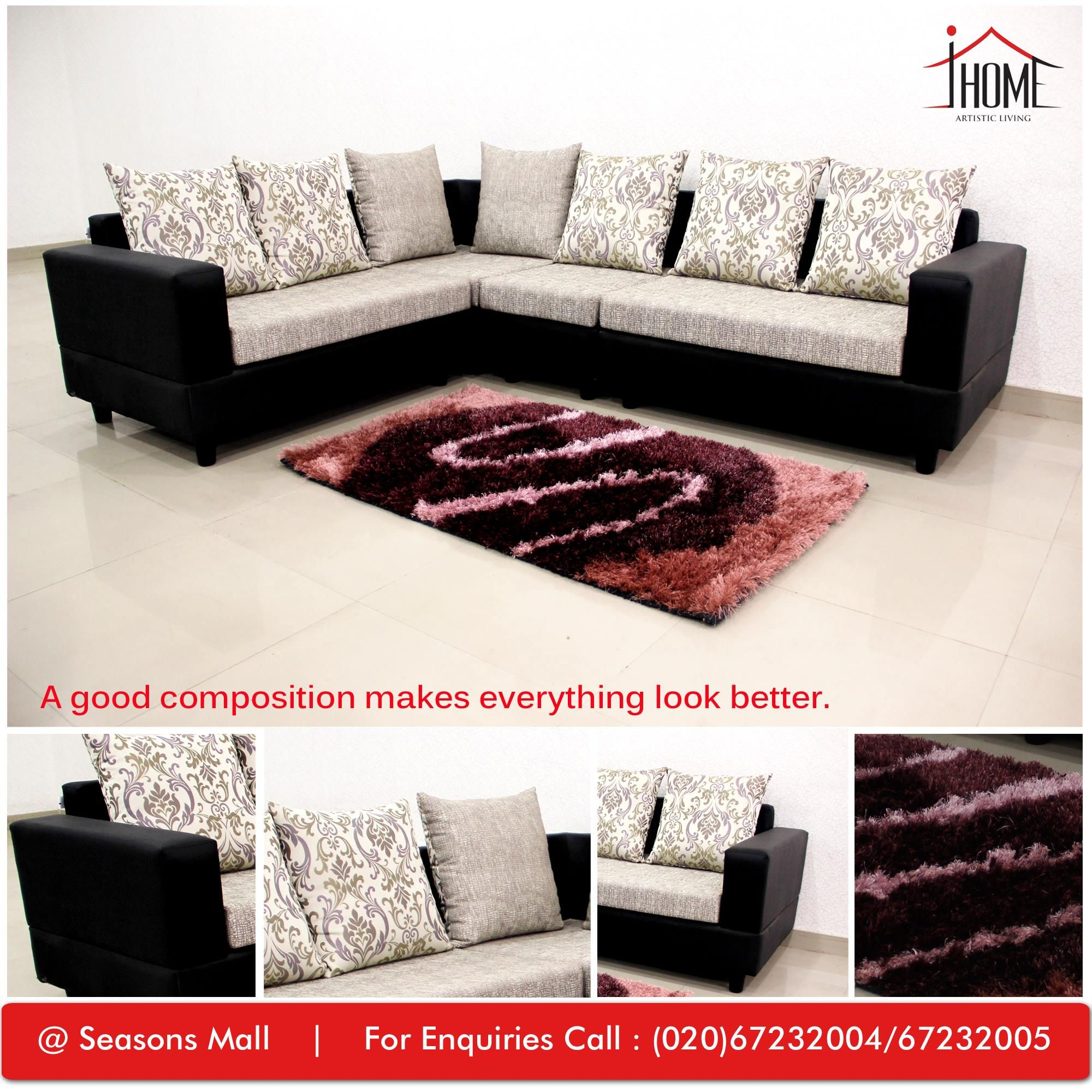 Classic Modular Kitchen Cabinets Rs 18000 Piece: Sectional Black Fabric Sofa Set. Contrasting Colors Are