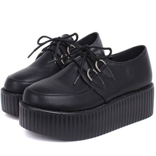 795ca5a54bf Womens Ladies Lace Up Punk Goth Stud Double Platform Flat Creeper Shoes