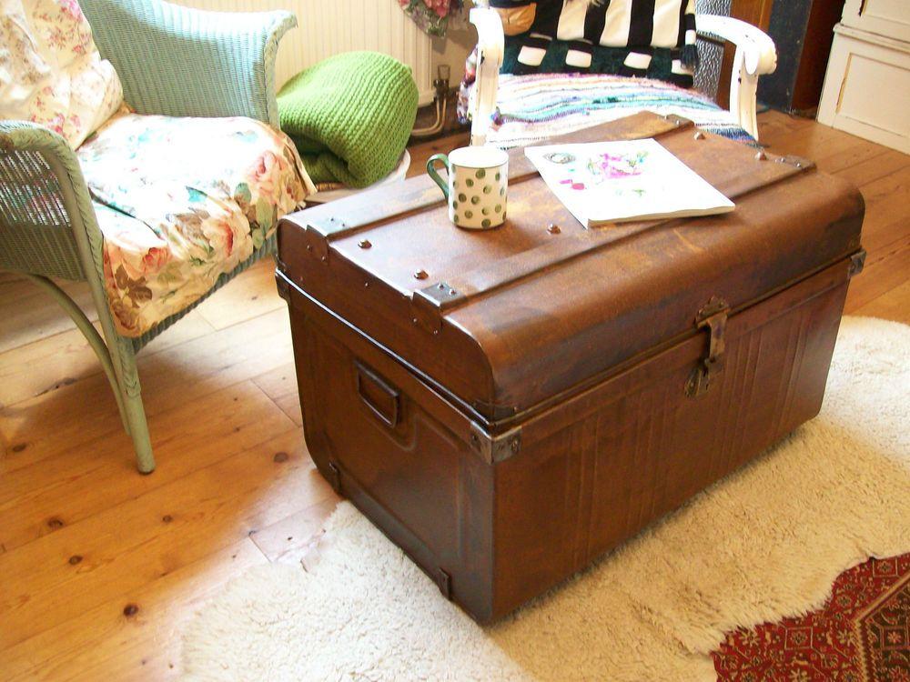 Large Vintage Metal Tin Steamer Trunk Storage Box Treasure Chest