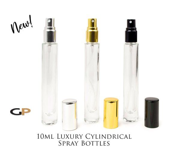 5e2e23e1d978 3 TALL SLIM Cylindrical LUXURY Atomizer Bottles 10ml Glass SiLVER ...