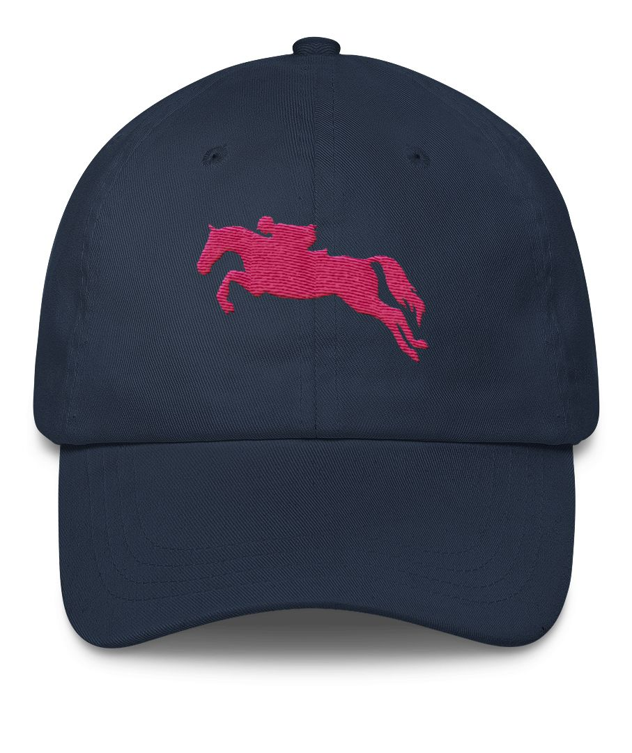 482c4548079f2 Jumping Horse Equestrian Emroidered Hat - hunter jumper showjumping horseback  riding themed ball cap with a pink horse and rider jumping