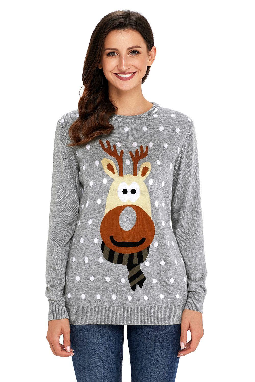 Us 10 93 Grey Christmas Reindeer Sweater Long Sleeve Knit Sweaters Reindeer Sweater Christmas Fashion [ 1500 x 1001 Pixel ]