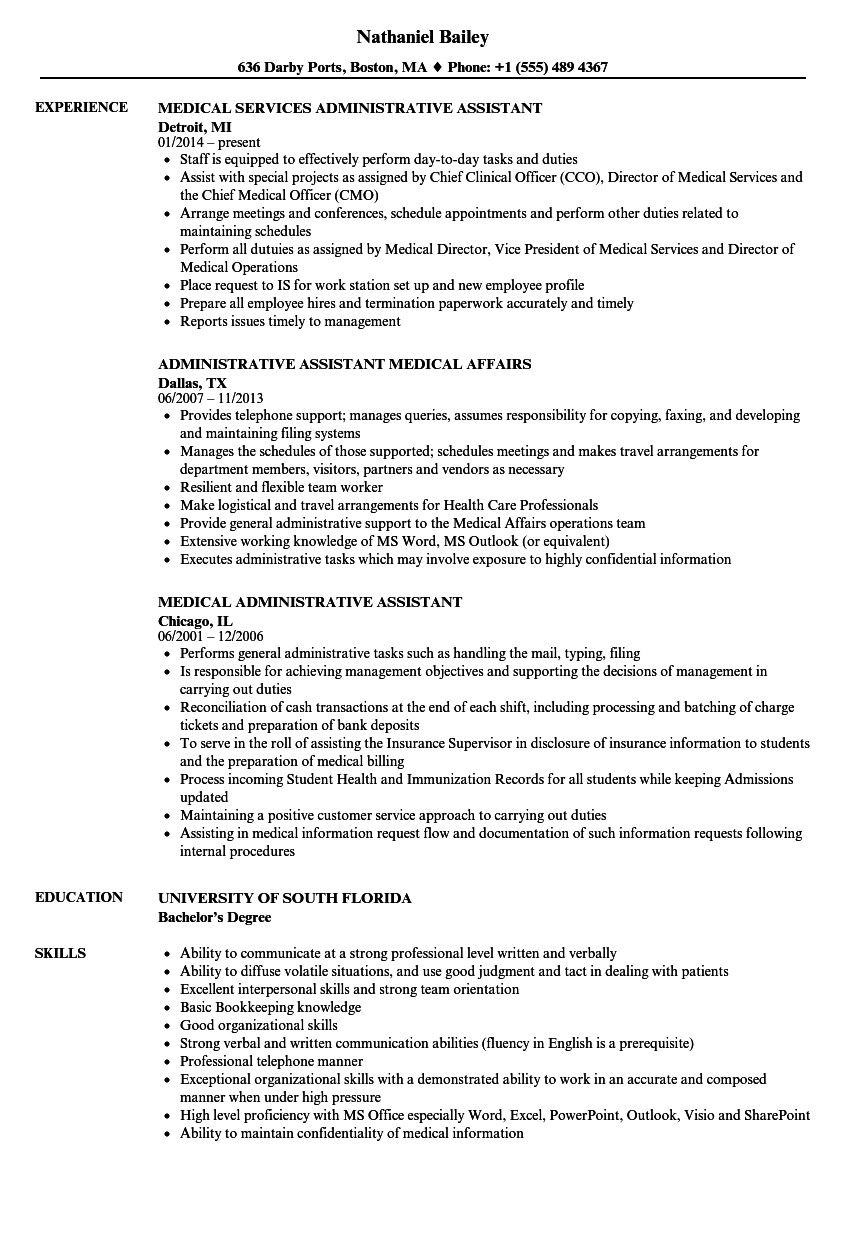 Executive assistant Resume Examples Popular Medical