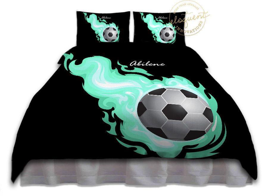 Soccer Ball Bedding - Comforter Aqua Flames - Soccer ...