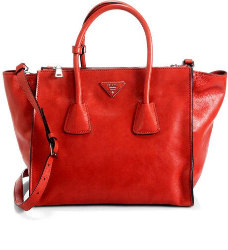 8612bc440245 Prada Glace Calf Twin Pocket Tote in Red (FUOCO-RED)