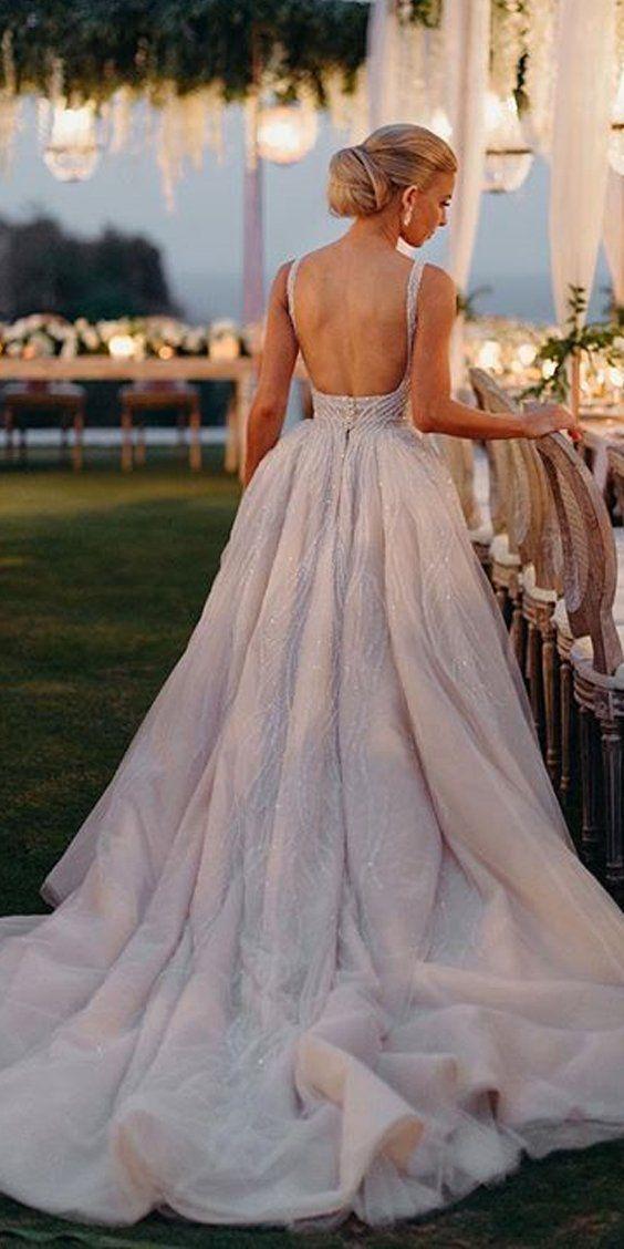 Luxury A-Line Lace Backless V-Neck TulleSleeveless Slit Wedding Dresses, FC1710