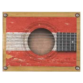 Austrian Flag On Old Acoustic Guitar Acoustic Guitar Gift Austrian Flag Guitar