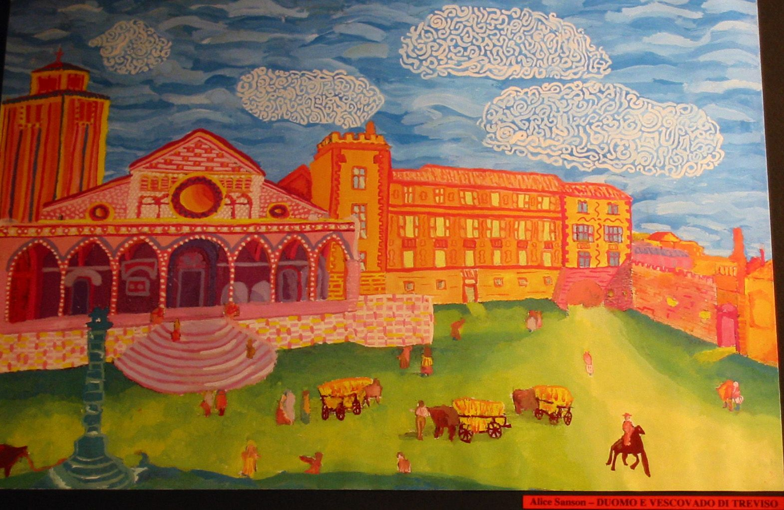 """""""Duomo e Vescov Ado di Treviso"""", by Alice Sanson a student of Prof. Fabio Sandrini at L. Coletti Middle School in Treviso, one of 95 communities in the Sister City twinning with Sarasota and Treviso Province in Italy. The art was displayed at the Hands of Heritage Fest at Robarts Arena in Sarasota in 2003"""