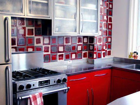 kitchens red and white backsplash