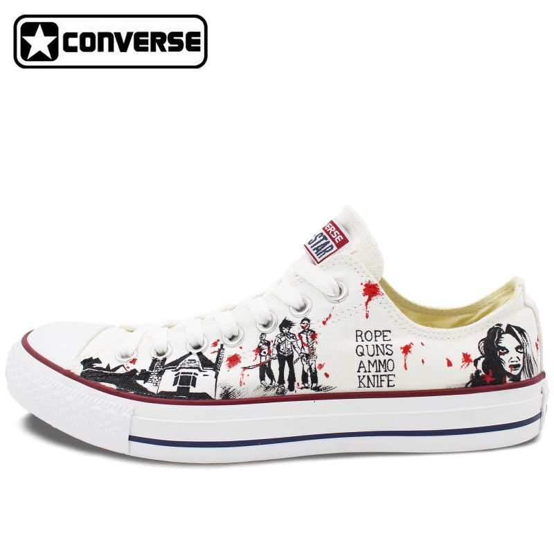 converse 2017. 2017 low top converse all star men women\u0027s shoes custom design walking dead hand painted canvas