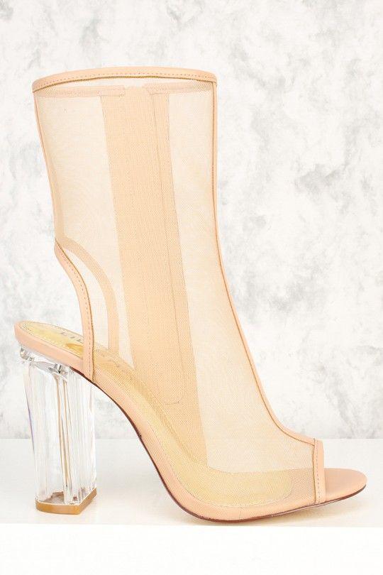 ed163e54671 Nude Peep Toe Clear Chunky Cutout Heel Booties Mesh Clear Heels