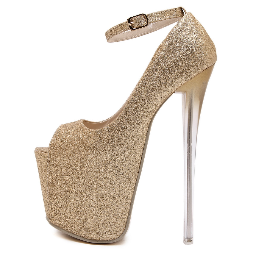 33.99$  Buy here - http://alidaf.shopchina.info/1/go.php?t=32702091858 - gold silver black ultra very high heels ankle strap woman wedding dress pumps peep open toe platform sequins glitter sandals  #magazineonline