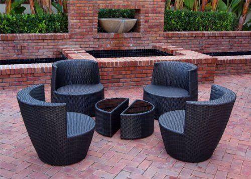 Amazon.com : 6 Piece Stackable All Weather Modern Outdoor Balcony Patio Furniture Set with Tan Color Cushions and Dark Brown Wicker Resin - Model S6 : Deck Storage : Patio, Lawn & Garden